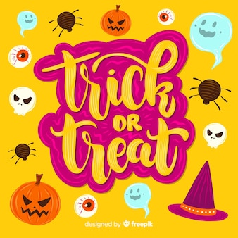 Trick or treat stickers op oranje achtergrond belettering