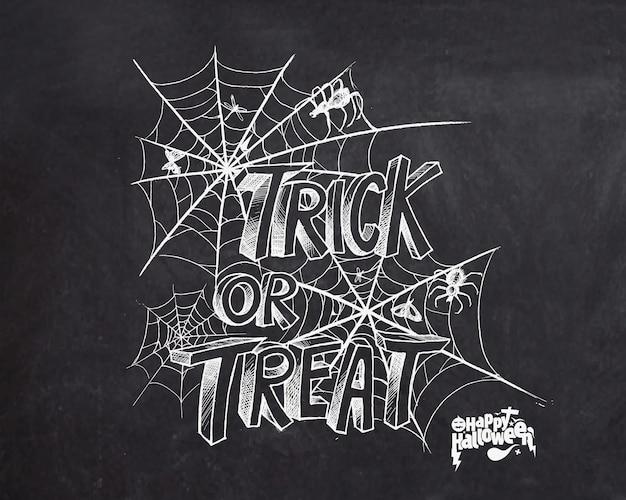 Trick or treat-tekst voor halloween-posterontwerp met spinnennetachtergrond.