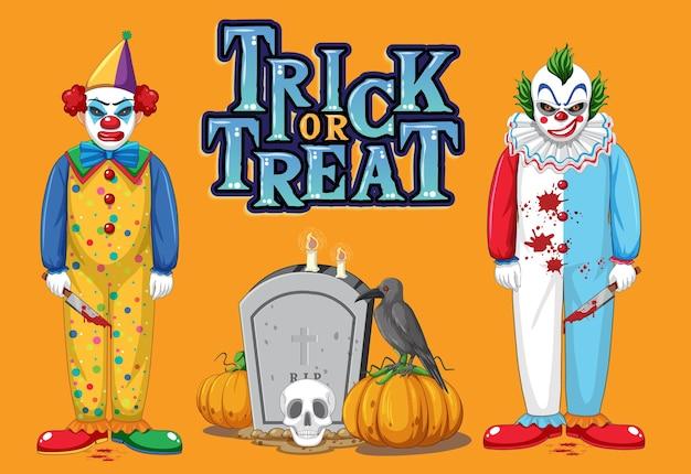 Trick or treat-tekstlogo met enge clowns