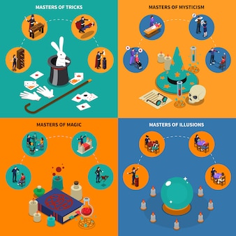 Tricks magic and mysticism isometric compositions
