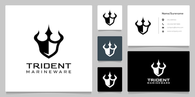 Trident en schild creatief concept logo ontwerp