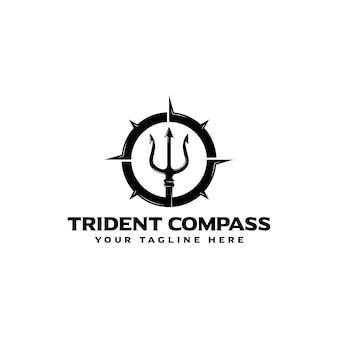 Trident met kompas logo pictogram vector ontwerp