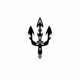 Trident symbool logo tribal tattoo design stencil vectorillustratie