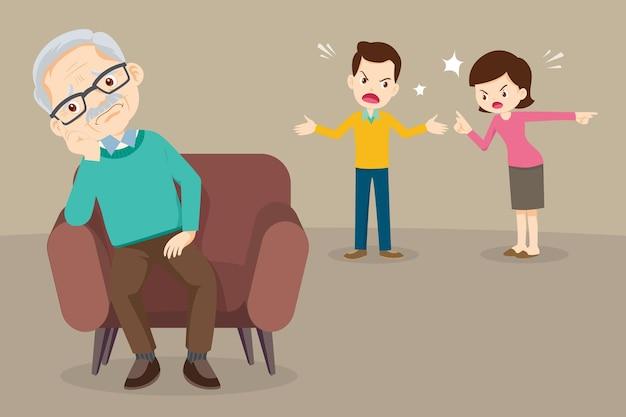 Triest bejaarde man zit sofa ongelukkig familie paar ruzie