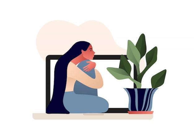 Triest eenzaam depressief meisje zittend op de laptop. jonge ongelukkige vrouw haar knieën knuffelen. online psychotherapie. stripfiguur. depressieve tiener. illustratie in vlakke stijl