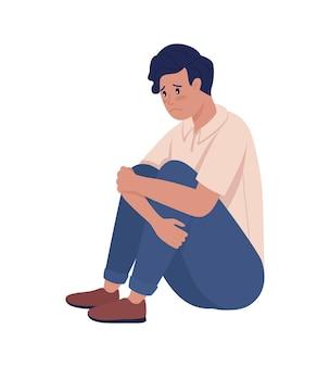 Triest eenzame tiener jongen semi egale kleur vector karakter. zittend figuur. volledige lichaamspersoon op wit. tienerproblemen geïsoleerde moderne cartoonstijlillustratie voor grafisch ontwerp en animatie