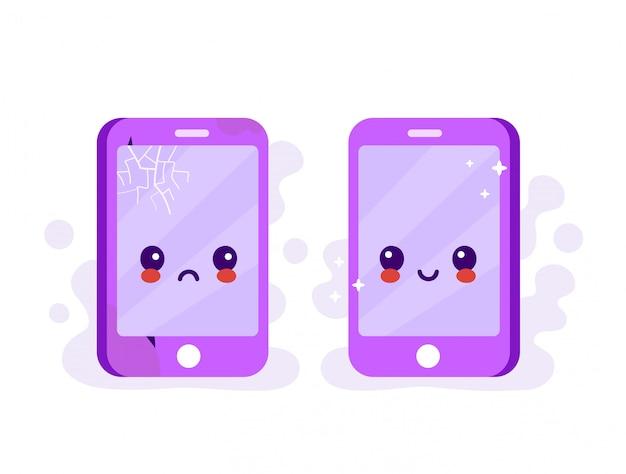 Triest gebroken telefoon met scheuren en krassen en nieuwe gelukkige nieuwe telefoon
