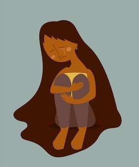 Triest huilende eenzame vrouw zittend op de vloer. afro-amerikaanse vrouwelijke personage in depressie, verdriet, verdriet. cartoon illustratie. Premium Vector