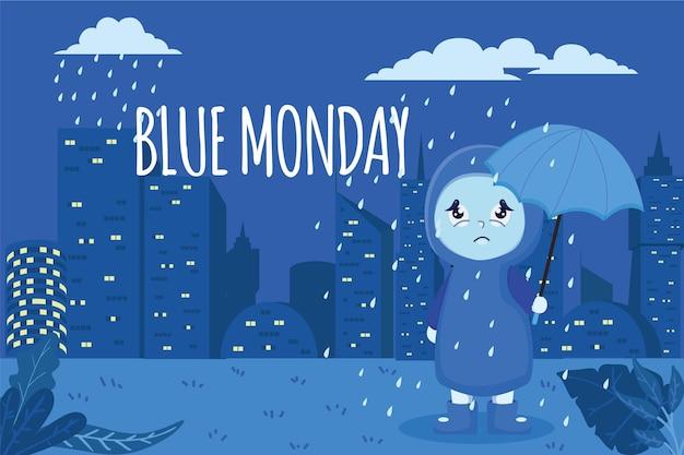 Triest karakter op blauwe maandag