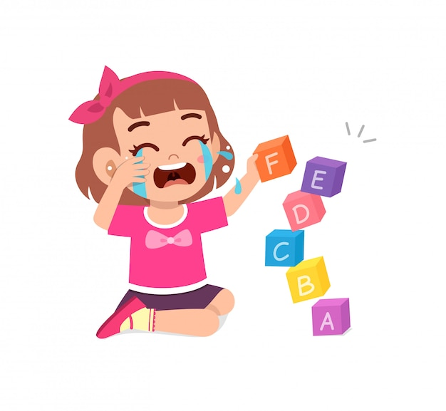 Triest kleine jongen jongen en meisje huilen luid
