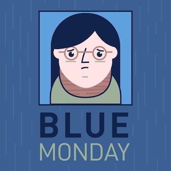 Triest meisje karakter op blauwe maandag evenement