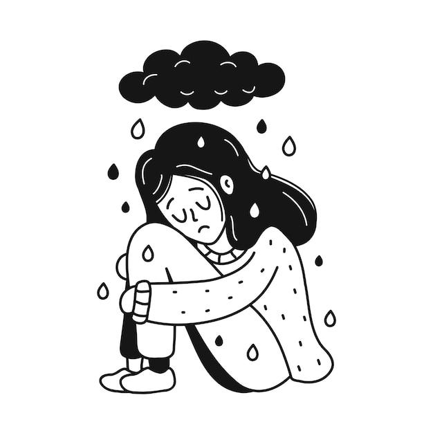 Triest, ongelukkig depressieve jonge vrouw zitten onder donkere wolk. psychologie, depressie, slecht humeur, stress concept. vector cartoon doodle hand getrokken karakter illustratie pictogram. geïsoleerd op witte achtergrond