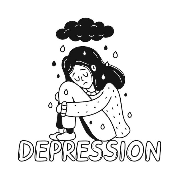 Triest, ongelukkig depressieve jonge vrouw zittend op depressie citaat. psychologie, slecht humeur, stress concept. vector cartoon doodle hand getrokken karakter illustratie pictogram. geïsoleerd op witte achtergrond