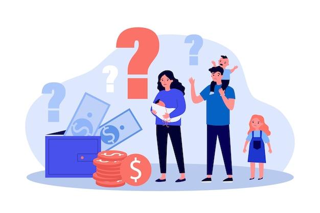 Triest ouders en kinderen kijken naar portemonnee en contant geld met vragen vlakke afbeelding