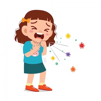 Triest schattig klein meisje meisje niezen vanwege griep