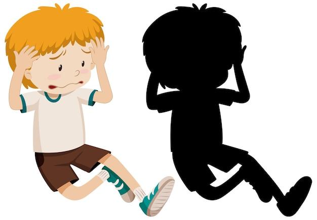 Triest teleurgesteld jongen in kleur en silhouet