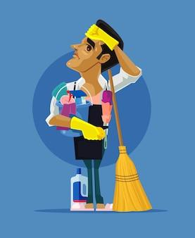 Triest vermoeide man teken huis schoonmaken.