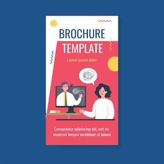 Triest vrouw counseling met psycholoog online geïsoleerde platte vector illustratie brochure sjabloon