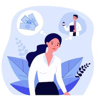 Triest vrouw denken over geld en medisch recept