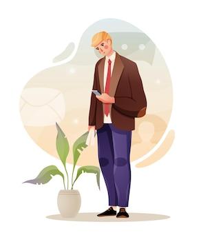 Triest zakenman op zoek op smartphone. vectorillustratie