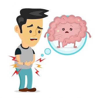 Triest zieke jonge man met voedselvergiftiging darmen karakter. platte cartoon afbeelding ontwerp. geïsoleerd op witte achtergrondkleur. spijsverteringskanaal, pijn, ziek, pijn concept