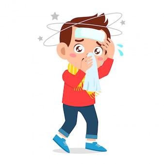 Trieste jongen krijgt griep en verkoudheid