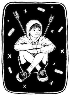 Trieste jongen met pijlen in de rug. het concept van pesten, kindermishandeling, tienerproblemen, ongelukkig kind. hand getekend grafische vectorillustratie. inktschets geïsoleerd op wit.