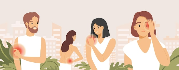 Trieste mensen die lijden aan pijn in verschillende lichaamsdelen vector