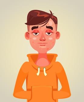 Trieste ongelukkige tienerjongen man met acne op het gezicht