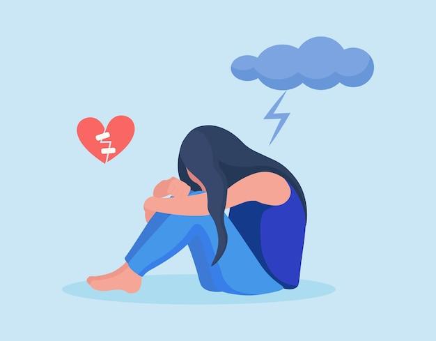 Trieste, ongelukkige vrouw die lijdt aan psychische aandoeningen zit onder een donkere wolk. meisje met symptomen van depressiestoornis: gebroken hart, angst, crisis, tranen, uitgeput, overwerkt, moe