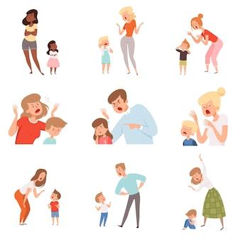Trieste ouders. boze vader straft zoon bang kinderen uitdrukking reactie huilende kinderfoto's.