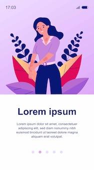 Trieste vrouw huid krabben. vrouwelijk personage dat lijdt aan sterk eczeem of allergie. illustratie voor ziekte, dermatologie, ziekte, symptomen concept