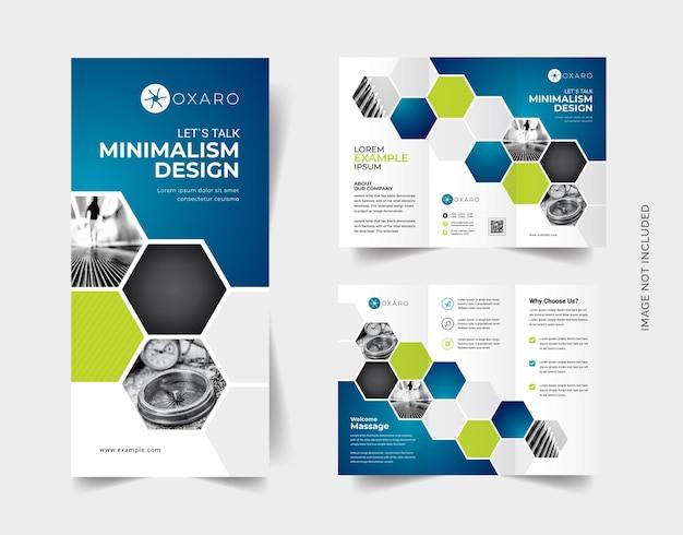 Trifold-brochure met blauw accent