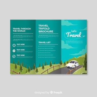 Trifold-brochure over de reis van de weg