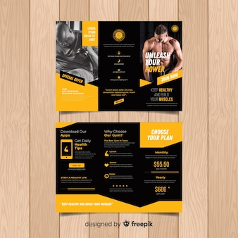 Trifold gym flyer sjabloon
