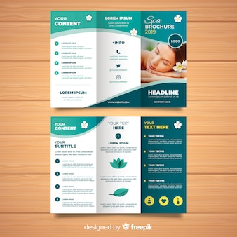 Trifold spa flyer sjabloon Premium Vector