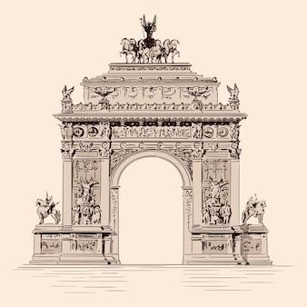 Triomfboog met beelden in een klassieke renaissancistische fusie. handgemaakte schets