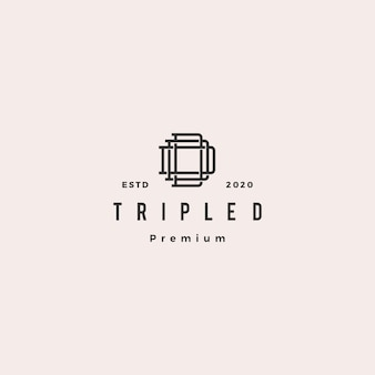 Triple d monogram ddd brief hipster retro vintage lettermark logo voor branding