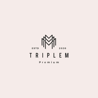 Triple m monogram mmm brief hipster retro vintage lettermark logo voor branding