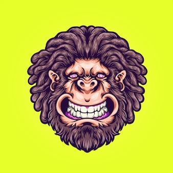 Trippy mannelijke gorilla illustratie