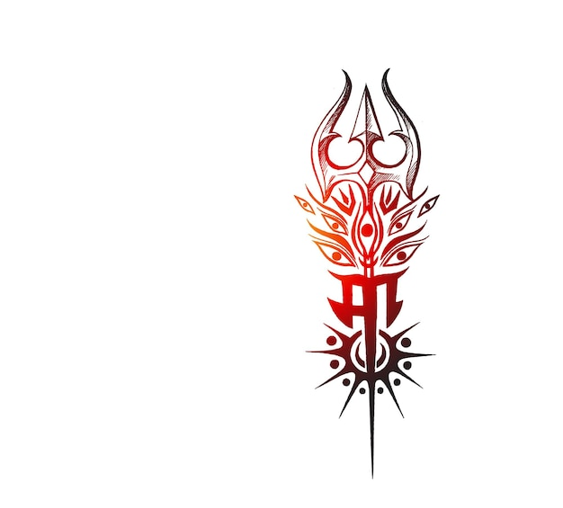 Trisulam met maa hindi tekst happy navratri achtergrond.