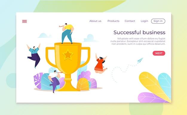 Trofee beker voor het behalen van zakelijk succes