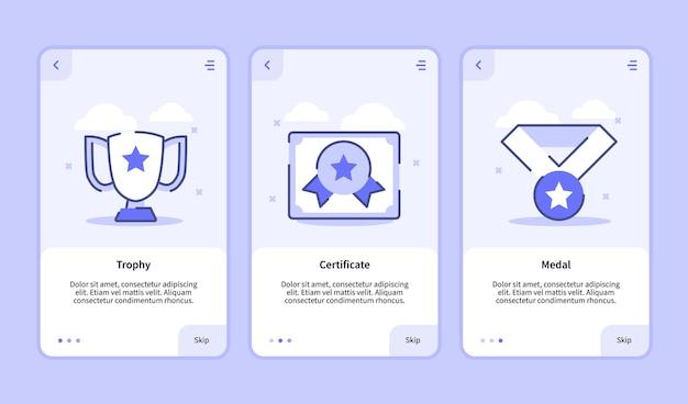 Trofee certificaat medaille onboarding scherm voor mobiele apps sjabloon banner pagina ui