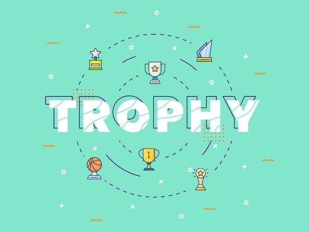 Trofee concept met typografie kalligrafie belettering woordkunst vectorillustratie