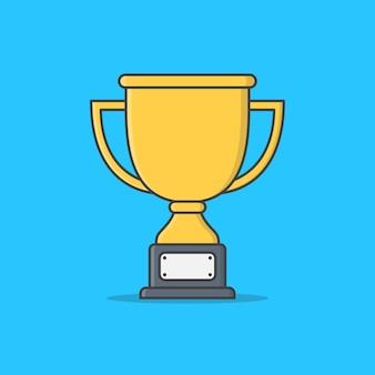 Trofee cup geïsoleerd op blauw