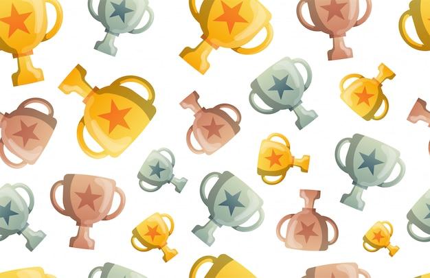Trofee cup naadloze patroon achtergrond. bedrijf plat ziek. ustration. award winnaar symboolpatroon. gouden, zilveren en bronzen bekers