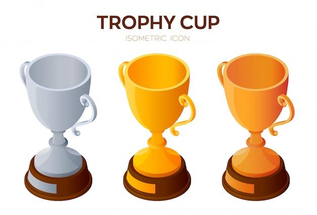 Trofee cup pictogram. gouden, zilveren en bronzen award, winnaar of kampioen bekers 3d isometrische pictogram.