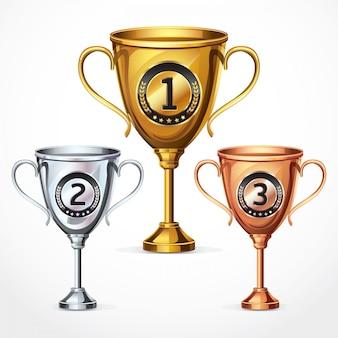 Trofee cups. vectorillustratie