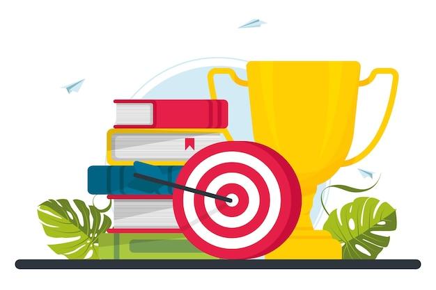 Trofee, doelwit, doelwit, boeken. motivatie, banensucces, aanmoedigingsconcept. doel bereiken van zakelijke carrière of onderwijs doel. zakelijk pad succes. vector illustratie