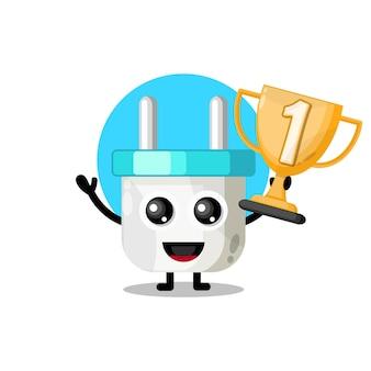 Trofee elektrische stekker schattige karakter mascotte